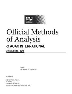 aoac official methods of analysis volume 2 pdf free download