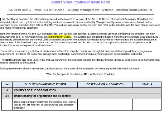 ISO 9001 to AS9110C Internal Audit Checklist