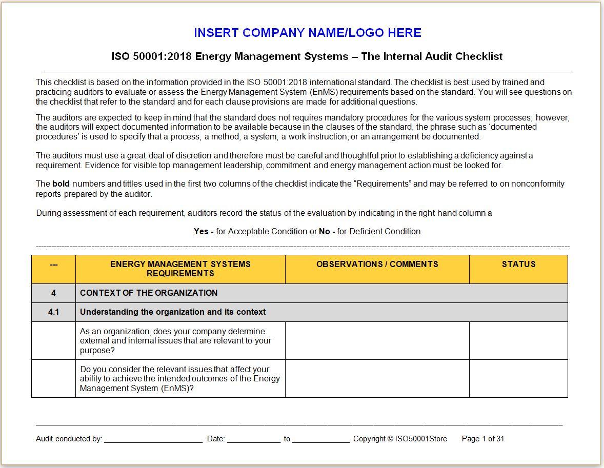 50001:2018 Internal Audit Checklist